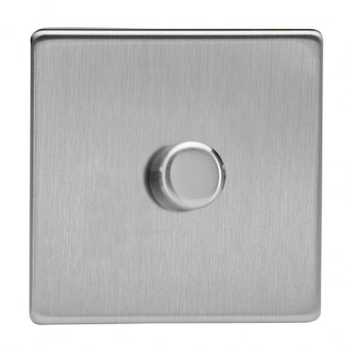 Varilight HDS3S Screwless Brushed Steel 1 Gang 2-Way Push-On/Off Dimmer 60-400W V-Dim